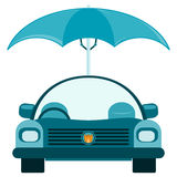 Passenger car under an umbrella. Protection from bad weather, car insurance stock illustration