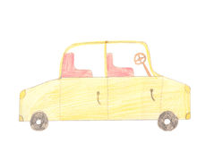 Passenger car on white background. Color children drawing. Royalty Free Stock Image