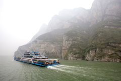 Passenger and cargo ship travels on the Yangtze River amid heavy pollution in China Royalty Free Stock Images