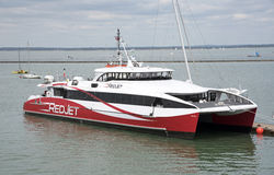 Passenger carrying catamaran at East Cowes UK Stock Images