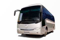 Passenger coach. Closeup of modern touring passenger bus isolated on white background Stock Photo