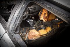 Free Passenger Compartment After The Fire, Partially Burned Down Parts Of The Car Stock Photography - 149578932
