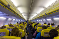 Passenger compartment of the aircraft company Ryanair stock images