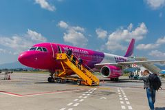 Passenger compartment of aircraft company Wizzair stock photo