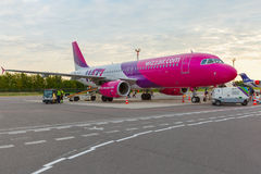 Passenger compartment of the aircraft company Wizzair Stock Photography