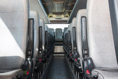 Passenger compartment of a big shuttle bus Royalty Free Stock Photo