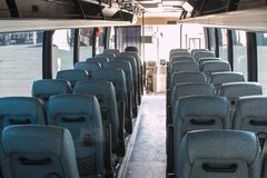 Passenger compartment of a big shuttle bus Stock Photography