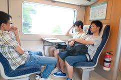 Passenger in crh train in China. Zhuhai China, August 28th,2011: Passenger in crh train from zhuhai to guangzhou in China Royalty Free Stock Photos