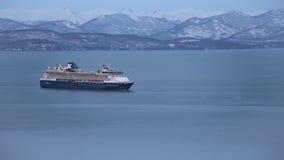 Passenger Cruise Liner Celebrity Millennium sailing in Pacific Ocean stock video