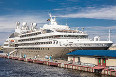 Passenger cruise ship LE BOREAL at the pier on the English embankment in St. Petersburg Royalty Free Stock Photo