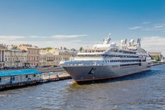 Passenger cruise ship LE BOREAL at the pier on the English embankment in St. Petersburg Stock Images