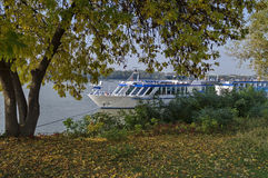 Passenger cruise ship in Ruse port at Danube river Royalty Free Stock Photos