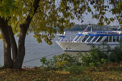 Passenger cruise ship in Ruse port at Danube river Royalty Free Stock Images