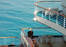 Passenger with disability on cruise ship. Modern wheenchair facilities on passenger ship royalty free stock photography