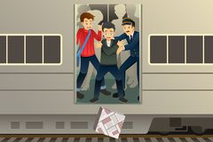 Passenger Drop a Package from the Train Illustration stock photos
