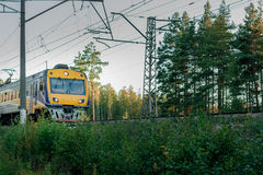Passenger electric train. Moving through forest in Riga stock photos