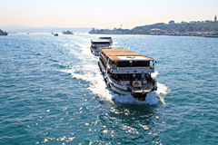 Passenger ferries in Bosporus Royalty Free Stock Photography