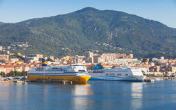 Passenger ferries moored in Port of Ajaccio Royalty Free Stock Photo