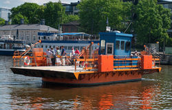 Passenger ferry on the Aura river  in Turku, Finland Royalty Free Stock Image