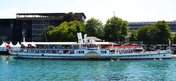 Passenger ferry boat in Lucerne lake switzerland Royalty Free Stock Images