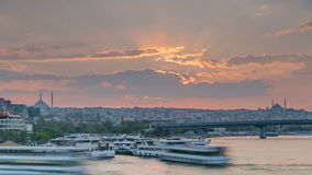 Passenger Ferry in the Bosphorus at sunset timelapse, Istanbul skyline, Turkey stock video