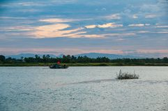 Passenger ferry riverboat in Thu Bon River near Hoi An, Vietnam, Indochina, Asia royalty free stock images
