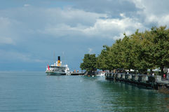 Passenger ferry in Vevey at Geneve lake in Switzerland Stock Images