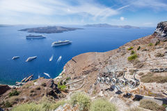 Passenger ferryboat in caldera. Passenger ferryboats in caldera near santorini island Royalty Free Stock Photo
