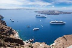 Passenger ferryboat in caldera. Passenger ferryboats in caldera near santorini island Stock Images