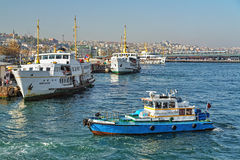 Passenger ferryboats at the Eminonu Pier in Istanbul, Turkey Royalty Free Stock Photography