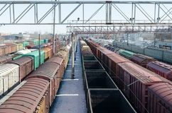 Passenger and freight rail transportation, railway industry.Cars on the platform. Passenger and freight rail transportation, railway industry.Cars on the stock photos