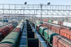 Passenger and freight rail transportation, railway industry.Cars on the platform. Passenger and freight rail transportation, railway industry.Cars on the royalty free stock images