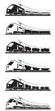 Passenger and freight trains Stock Images