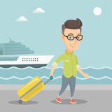 Passenger going to shipboard with suitcase. Royalty Free Stock Image