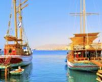 Passenger gulets in Eilat Stock Photography