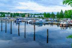 Passenger harbor, in Kuopio. Scene of the passenger harbor, with various boats, in Kuopio, Finland Royalty Free Stock Photography