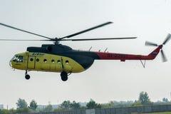 Passenger helicopter MI-8 landing Stock Photo