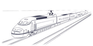 Passenger high-speed train. The pictures show a passenger express train Stock Images