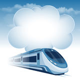 Passenger high speed train. Moving under the blue sky and white clouds. There is a place for your text Royalty Free Stock Image