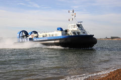 Passenger Hovercraft coming ashore Royalty Free Stock Image