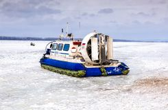 Passenger hovercraft Hivus-4 on the ice of the frozen Volga rive Stock Photography