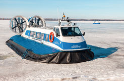 Passenger Hovercrafts on the ice of the frozen Volga river in Sa Stock Image