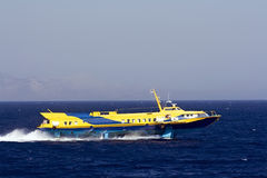 Passenger hydrofoil. Greek hydrofoil passenger service running between the islands and Turkey Royalty Free Stock Images