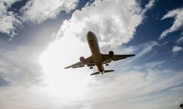 Passenger Jet Aircraft Flying Overhead Royalty Free Stock Photos