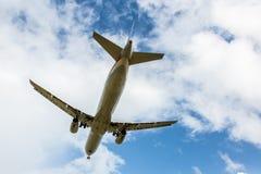 Passenger Jet Aircraft Flying Overhead Stock Photo