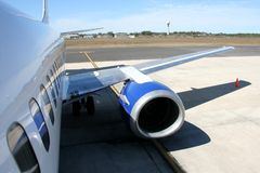 Passenger Jet Airoplane. Side and wing of a passanger jet airoplane stock photos