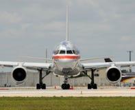 Passenger jet airplane. Modern passenger jet airplane front view Royalty Free Stock Images