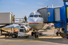Free Passenger Jet Airplane Docked At Gate Royalty Free Stock Image - 91114856