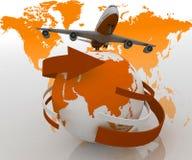 Passenger jet airplane travels around the world. 3d passenger jet airplane travels around the world Stock Images