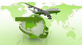 Passenger jet airplane travels around the world. 3d image on a white background Royalty Free Stock Photo